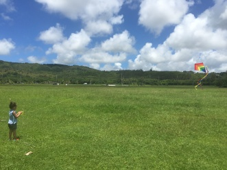 Flying kites in Asan Park