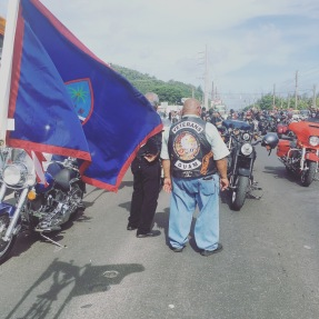 Veterans on motorcycles waiting to start the parade